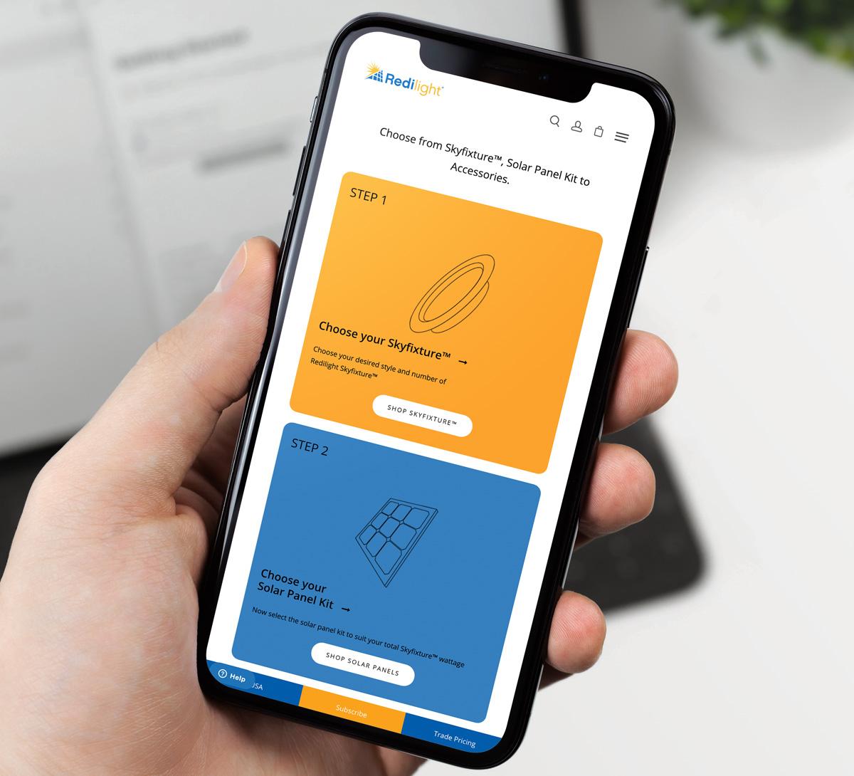 Redilight Website on Mobile